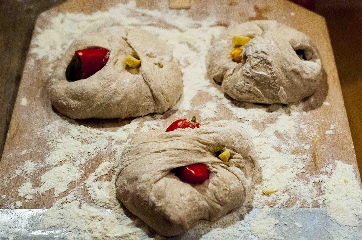 Pepper-Cheese Filled Ciabattas